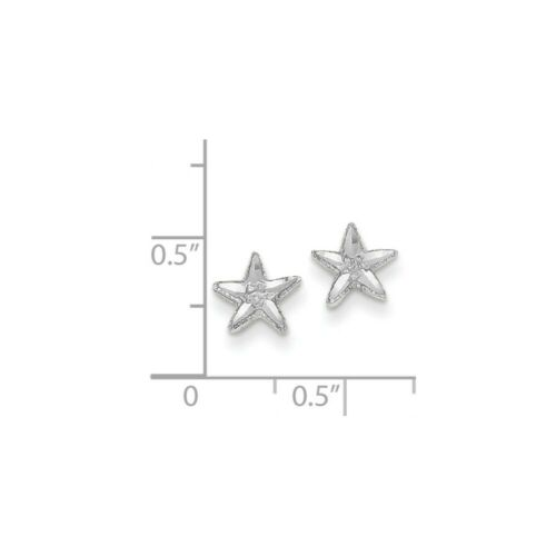 Details about  /14k 14kt White Gold  Diamond-cut Starfish Earrings 8 mm