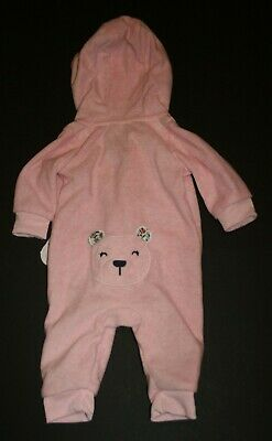 NEW Carter/'s Girl 18M Gray Pink Polka Dot Animal Fleece Romper One Piece NWT
