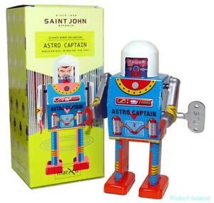 Saint-John-ASTRO-CAPTAIN-ROBOT-Giocattolo-Di-Latta-Retro-Da-Collezione