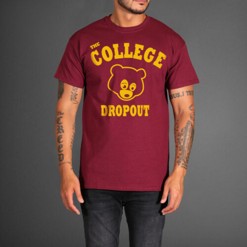 The College Dropout Burgundy Teddy Bear T-shirt Yeezus Kanye West Album Tee