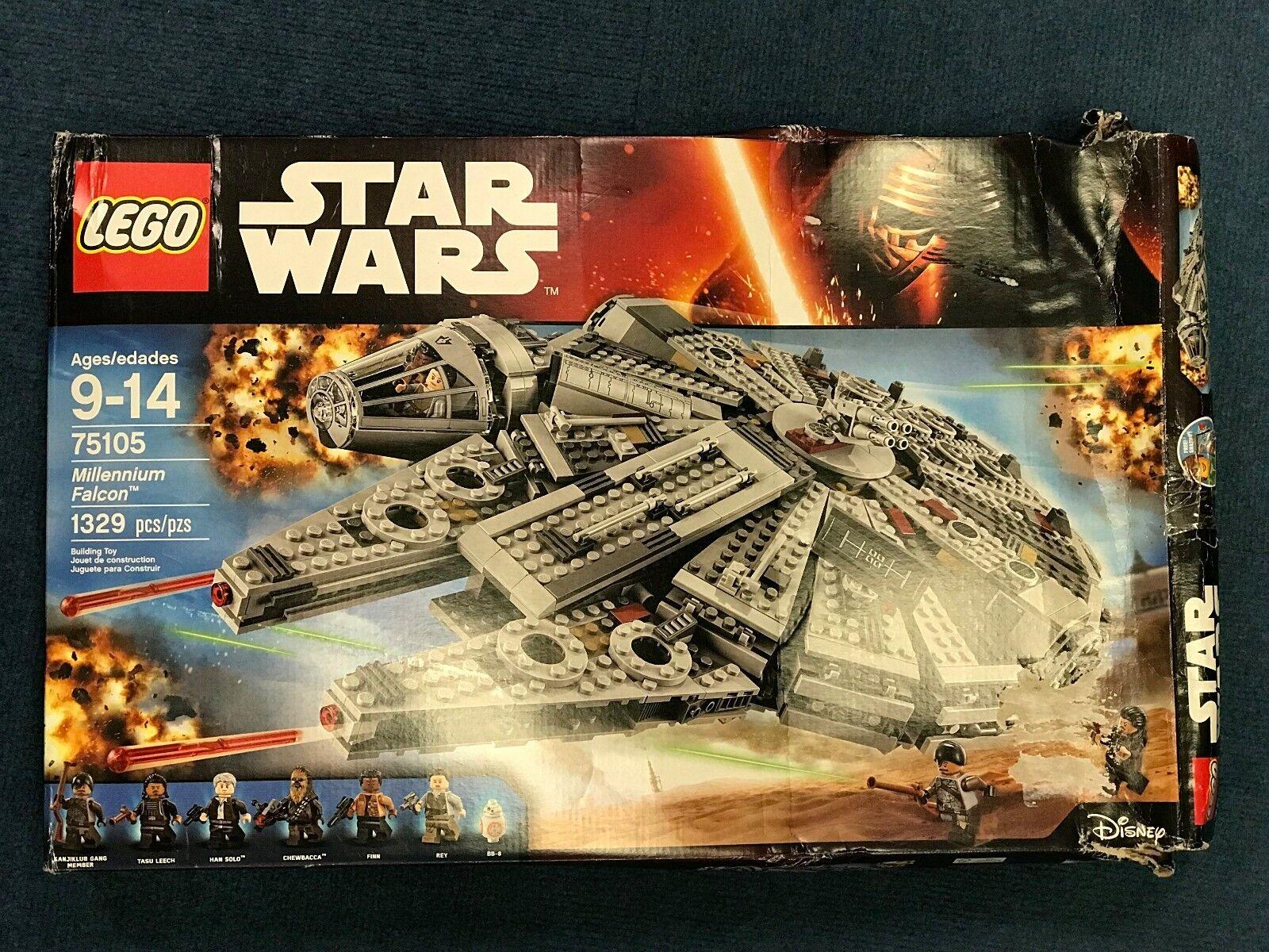 LEGO Star Wars Millennium Falcon 75105 1329 Pcs - Damaged Box - Sealed Bags READ