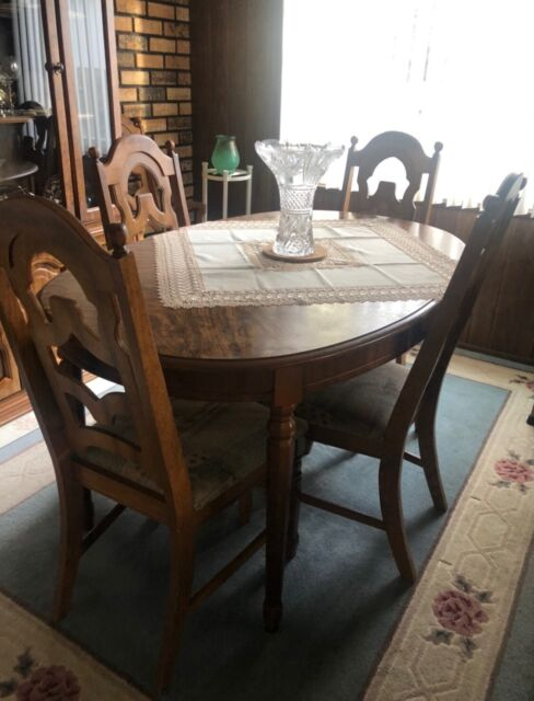 Dining Room Table By Thomasville With Chairs And Leaves For Sale Online Ebay