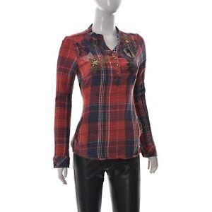 Desigual-Donna-Ricamato-Floreale-Perline-Accent-Camicia-Manica-Lunga-S-Plaid