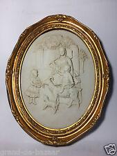 VINTAGE oro incorniciato MARMO CHERUBINI foto/Placca-Family/Figure Animali