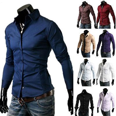 LA ROTTO Herren Langarm Hemd Slim Fit Freizeit Polo T-shirt S-XXL Hemd 01 WOW