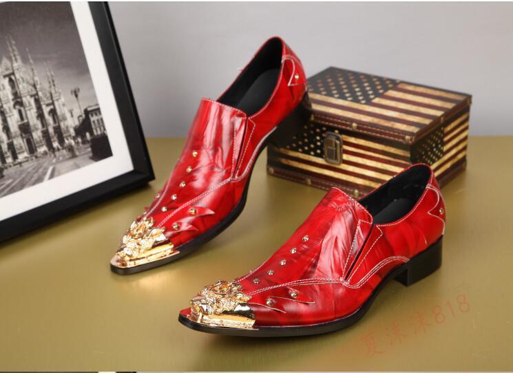 Uomo's British Pointy Toe Pelle Slip On Dress Wedding Formal Nightclub Shoes