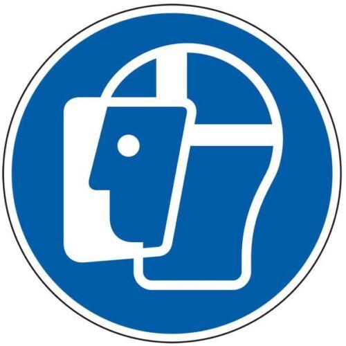 Gebotsschild Gesichtsschutz benutzen ASR//ISO Folie selbstklebend Ø 100mm