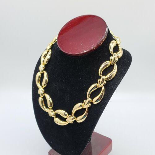 "Vtg 17"" Choker Necklace Oval Chain Link 1980-1990'"
