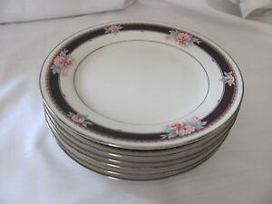 Noritake Castleberry 7960 set of 6 bread plates black rim pink flowers platinum