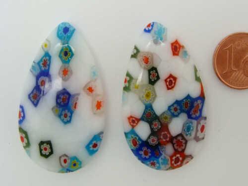 Pendentif verre MILLEFIORI goutte 42mm Blanc Multicolore DIY création Bijoux