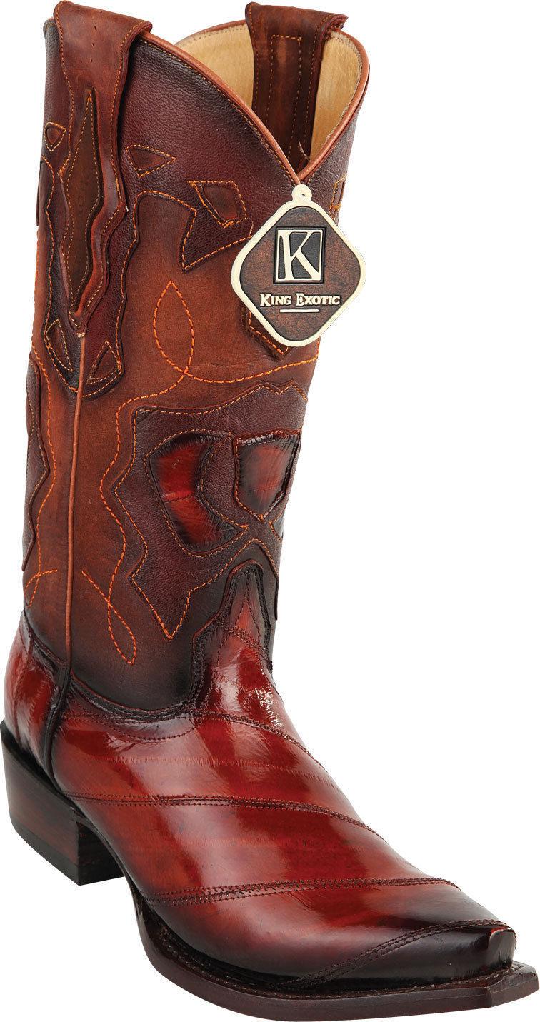 KING EXOTIC COGNAC SNIP TOE GENUINE EEL WESTERN COWBOY BOOT EE+ 94RD0857