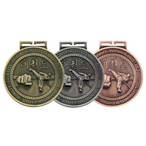 70mm Olympia Taekwondo Medal and Ribbon Martial Arts Medals Gold Silver Bronze