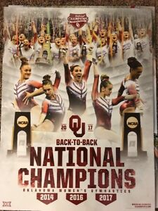 2017 Oklahoma Sooners National Champions Women's Gymnastics Poster Free Shipping