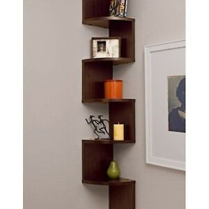 Tall hanging corner shelf stand abstract wall mount for Free hanging bookshelves