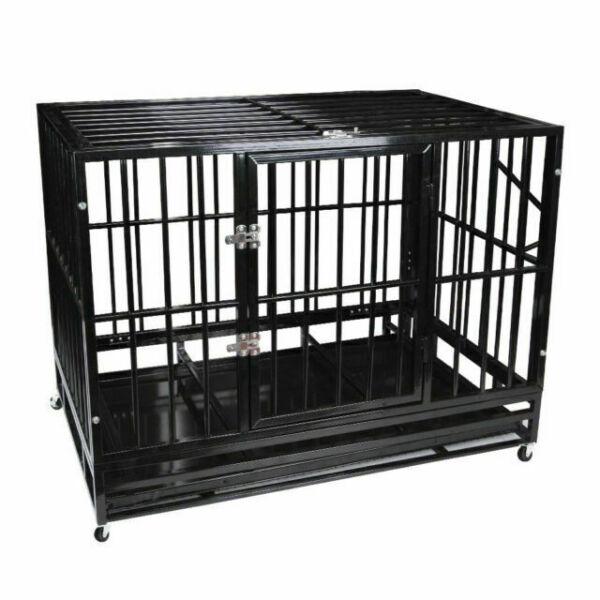 Polar Aurora Pet Dog Cage Heavy Duty Strong Metal Crate Kennel Playpen w//Lockable 4 Wheels/&Tray
