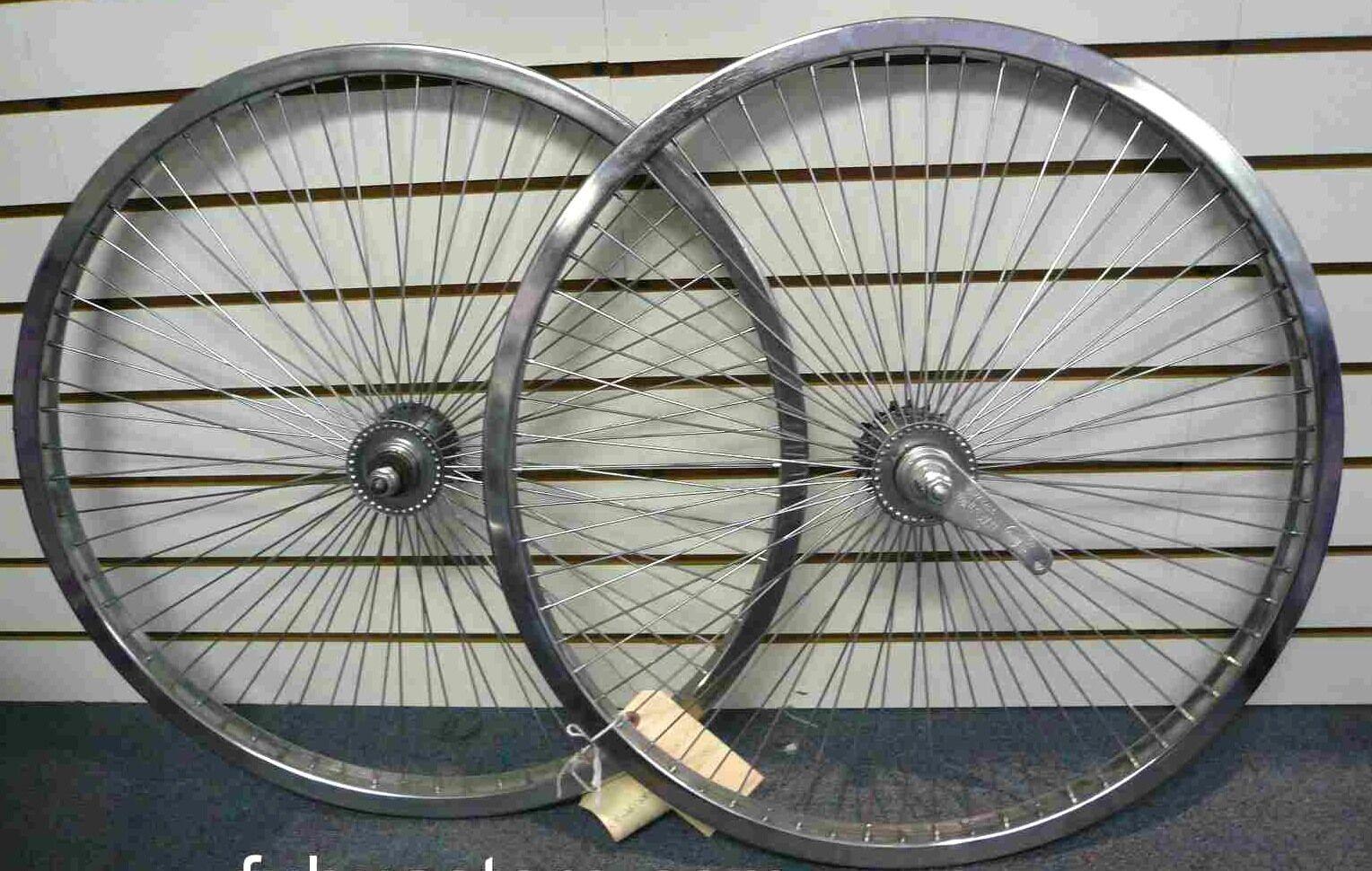 Beach Cruiser Bike 20 x1.75  68 spokes R & F Wheelset Chrome W Coaster Brake Rim
