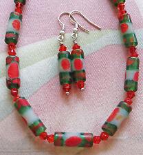 "ORANGE, DARK GREEN INDONESIAN GLASS BEAD necklace, earrings 18 1/2"" & extender"