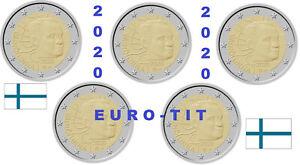 FINLANDE LOT DE   5 X PIECES DE 2 EURO COMMEMO VAINO   LINNA  / 2020  disponible