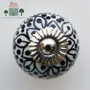 black white moroccan aztec decorative ceramic drawer knobs cupboard