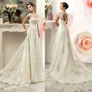 Image Is Loading Wedding Dresses A Line Cap Sleeves Backless Lace