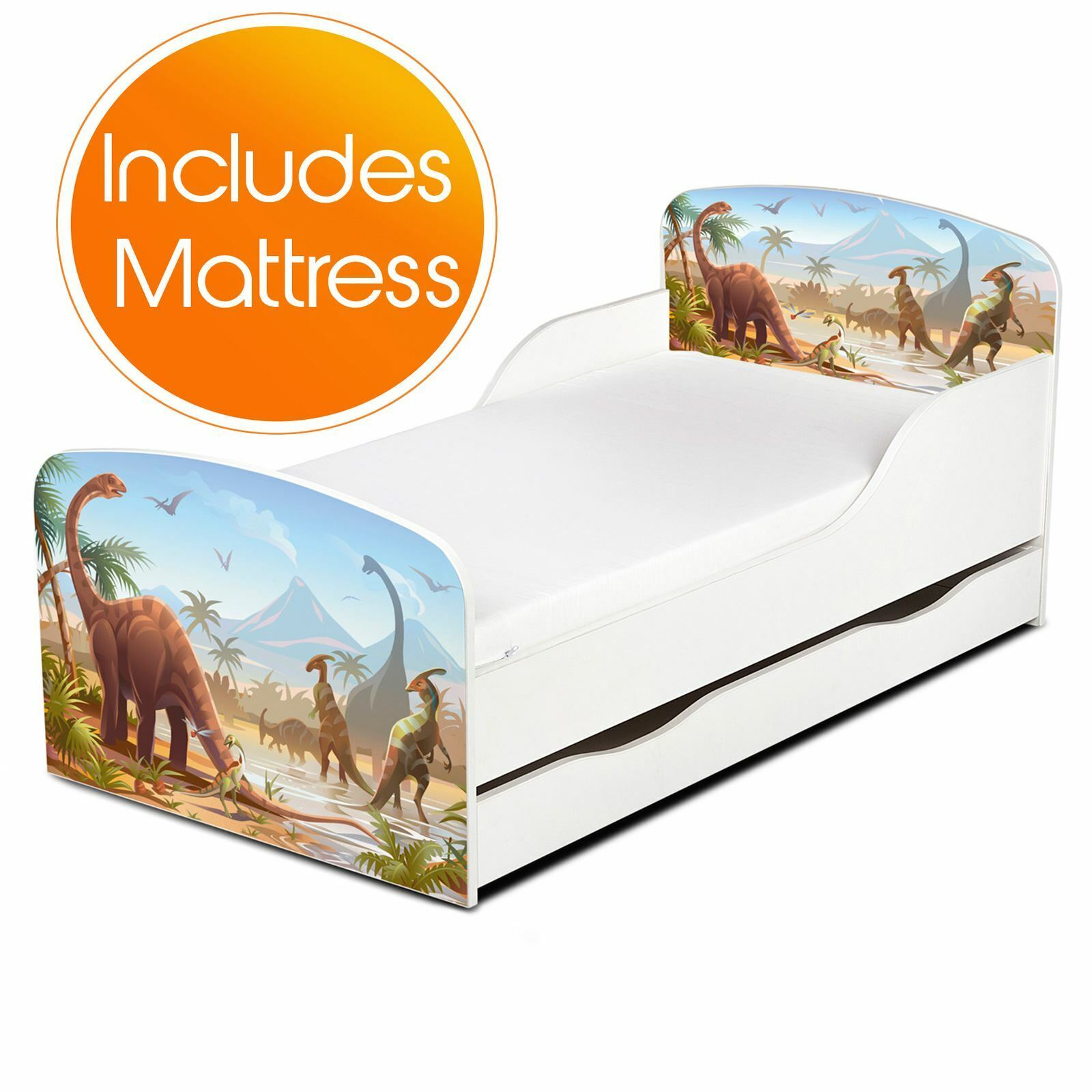 Price Right Home Jurassic Dinosaurs Storage Baby Bed + Deluxe Foam Mattress