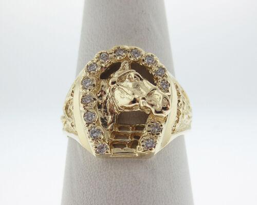 Genuine Diamonds Solid 14k Yellow gold Horseshoe Ring FREE Sizing