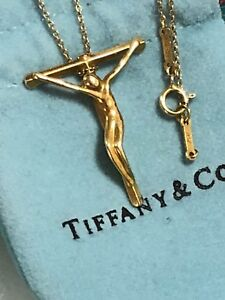 a7168549ba306 Tiffany & Co Elsa Peretti Crucifix Cross Pendant Necklace 18K 750 ...