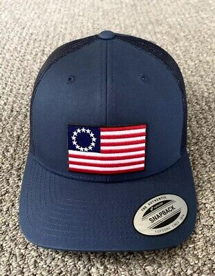 Betsy Ross Flag Hat First US Flag SnapBack Trucker Cap Handcrafted in the USA!