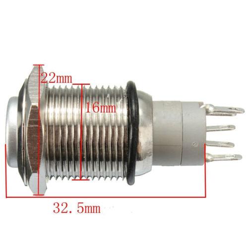 16mm 12V Blue LED Momentary Push Button Metal Switch Car Boat Bell Horn VU