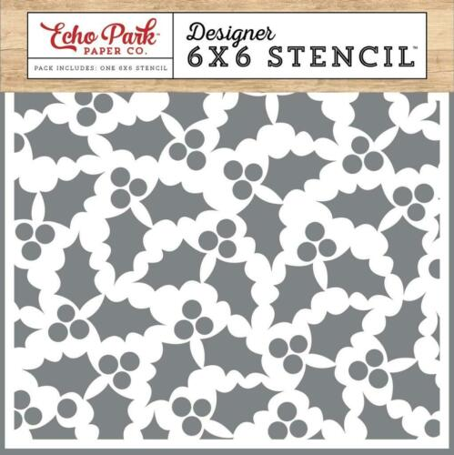 Echo Park Holly and Berries 6x6 Designer Stencil /'I Love Christmas/' ILC114034