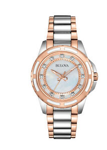 Bulova Women's Quartz Diamond Accent Two-Tone Bracelet 32mm Watch 98P134