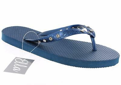 Las NUEVAS SEÑORAS NIÑAS ella Shoes Diamante Verano Chanclas Toe Post Sandalias Planas