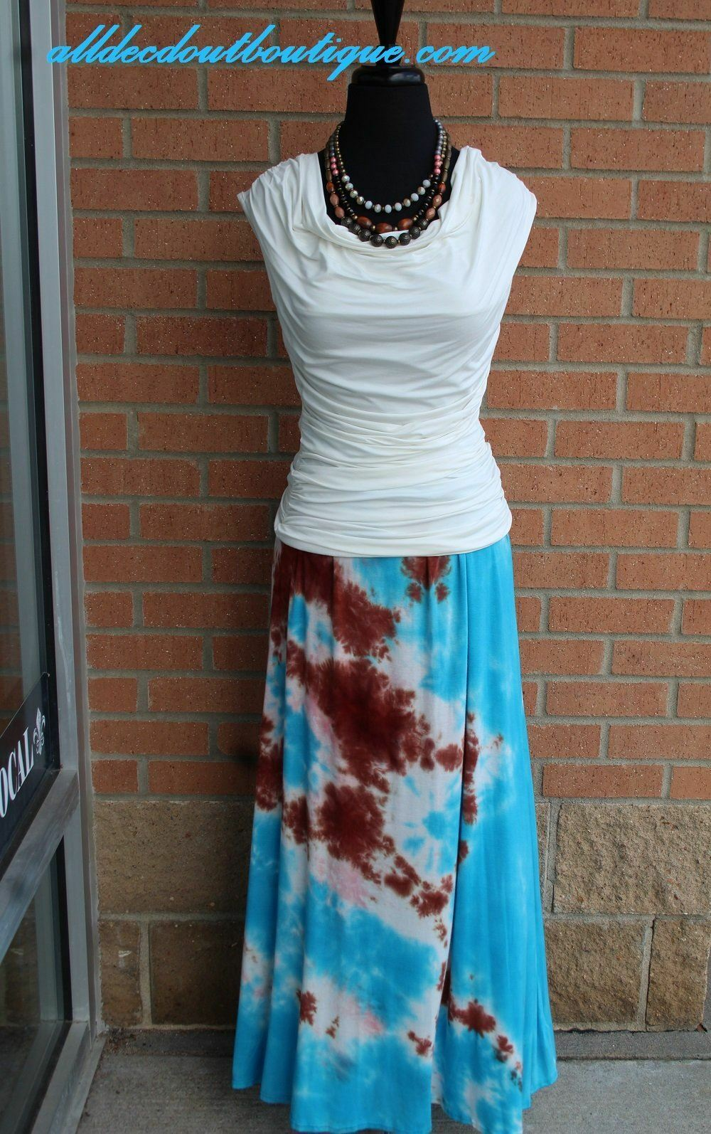 TPARTY   Maxi Skirt blueee Tie Dye