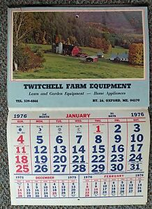Details about Oxford Maine ME Twitchell Farm Equipment Calendar 1976