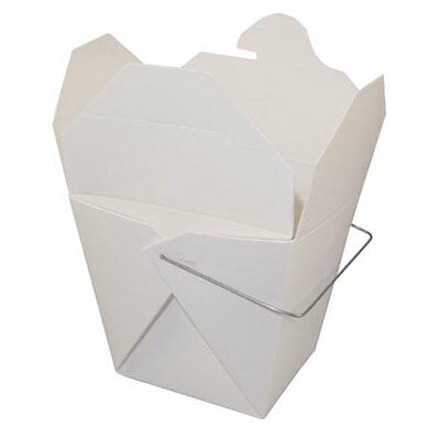 50 WHITE Quart Chinese Take Out Box 32 oz Food / Favor Pail with Handle
