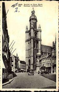 HAL-HALLE-Grand-Place-Auto-Verkehr-alte-AK-Postkarte-Belgien-Belgium-um-1950
