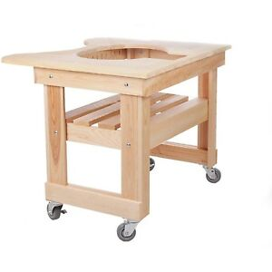 Details About Primo 601 Cypress Wood Table For Primo Round Kamado Grill, 4  Wheels