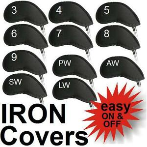 Golf-Club-Iron-Covers-11-Neoprene-Headcovers-3-4-5-6-7-8-9-PW-AW-SW-LW-Full-Set
