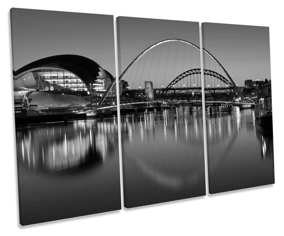 Newcastle Tyne Bridges River City B&W TREBLE CANVAS WALL ART Box Framed Print