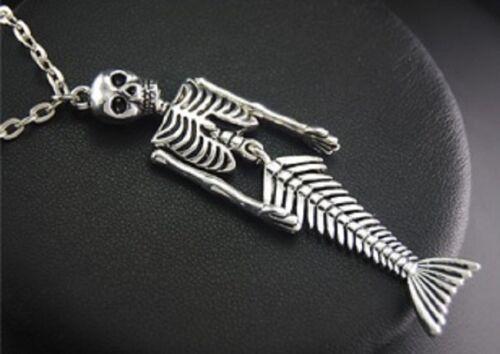 "Mermaid Skeleton Pendant Necklace Skull 20/"" Chain Bones Gothic Steampunk UK"