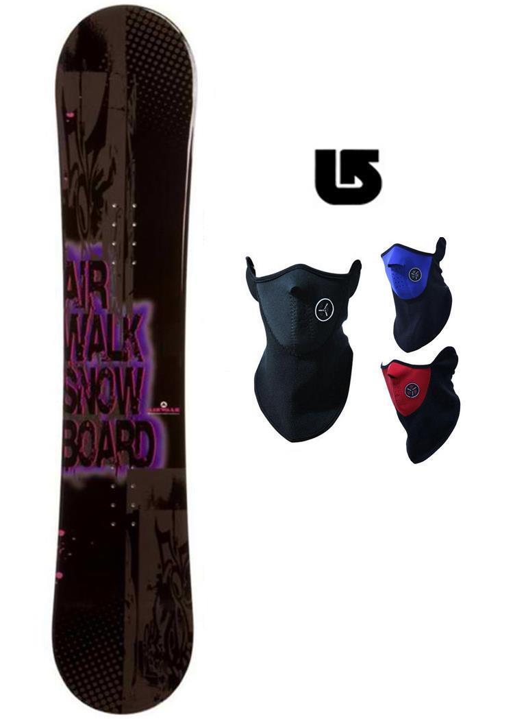 400 155cm Airwalk Logo Snowboard +Face Mask Gaiter+Burton decal k2-awlg1 NEW