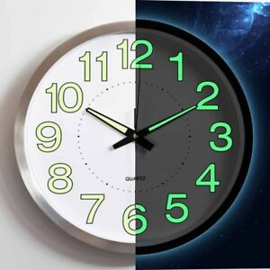 Details about Wall Clock Quartz Sweep Second No Ticking Noise Dark Night  Luminous Kitchen 30cm