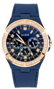 Guess-senora-reloj-de-pulsera-reloj-w1093l2-acero-inoxidable-Rose-oro-ramo-azul
