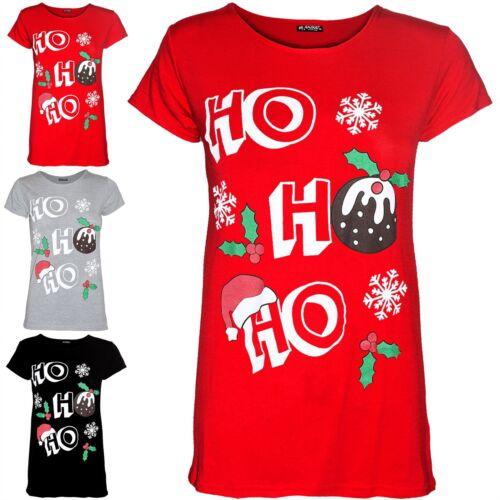 Mujer señoras Ho Ho Ho Sombrero Copo de Nieve Navidad Elástico camiseta Manga Casquillo superior