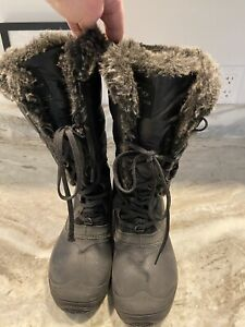 North Face Womens Shellista II Tall Boots Black Gray size 7 fur snow