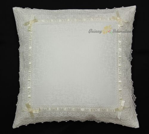 Unique Jacquard Lace with Bow Doily Table runner Tablecloth Cushion cover ivory