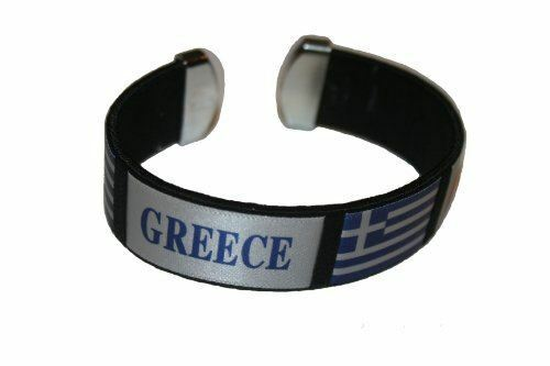 New Greece Hellas Black Country Flag THICK C/' Bracelet Wristband.