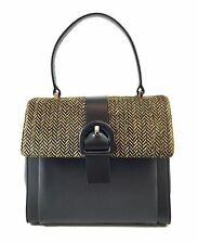 Innue Italian Pony Fur & Black Soft Calf Leather Women's Elegant Grab Handbag