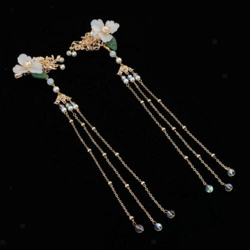 Chinese Style Flower Barrette Hairpin Chinese Butterfly Tassels Hair Stick