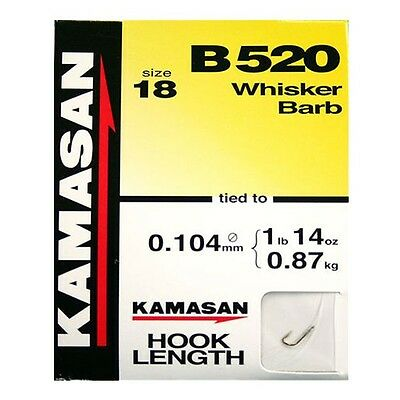 Kamasan B520 Barbed Hooks To Nylon Whisker Barb 8 Per Pk Course Match Fishing